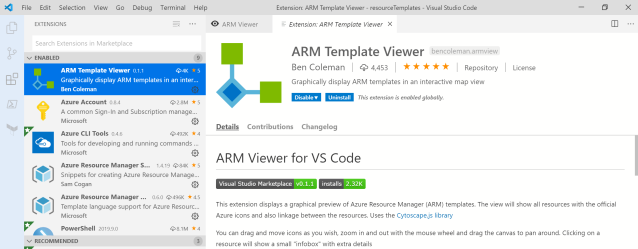 ARM Template Viewer Extension
